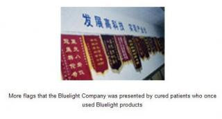 more flags that the bluelight company was presented by cured patients who once used bluelight products