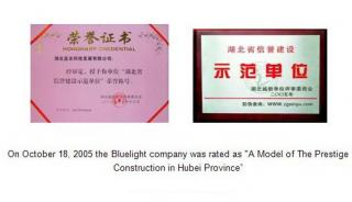 On October18, 2005, the bluelight company was rated as